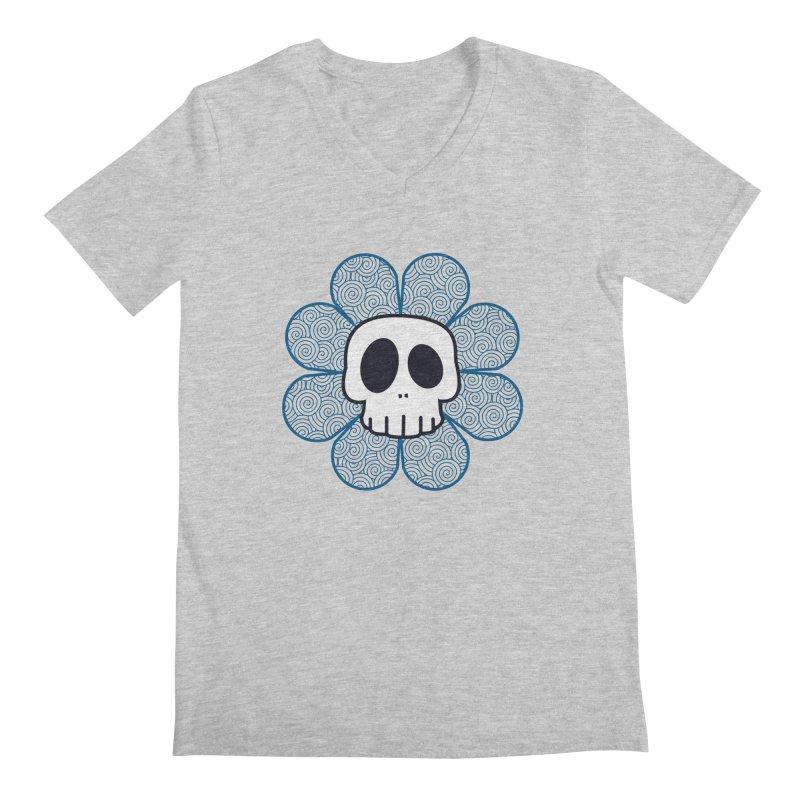 Swirl Skull Flower Men's V-Neck by SkullyFlower's Sweetly Creepy Tees