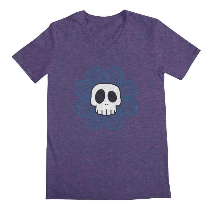 Swirl Skull Flower Men's V-Neck by SkullyFlower's Sweetly Creepy Tees