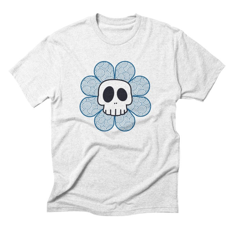 Swirl Skull Flower Men's Triblend T-shirt by SkullyFlower's Sweetly Creepy Tees
