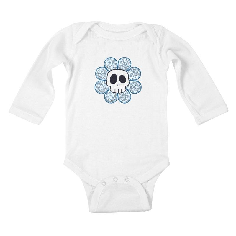 Swirl Skull Flower Kids Baby Longsleeve Bodysuit by SkullyFlower's Sweetly Creepy Tees