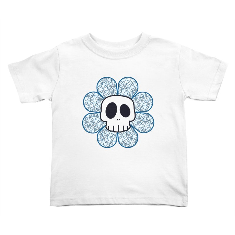 Swirl Skull Flower Kids Toddler T-Shirt by SkullyFlower's Sweetly Creepy Tees