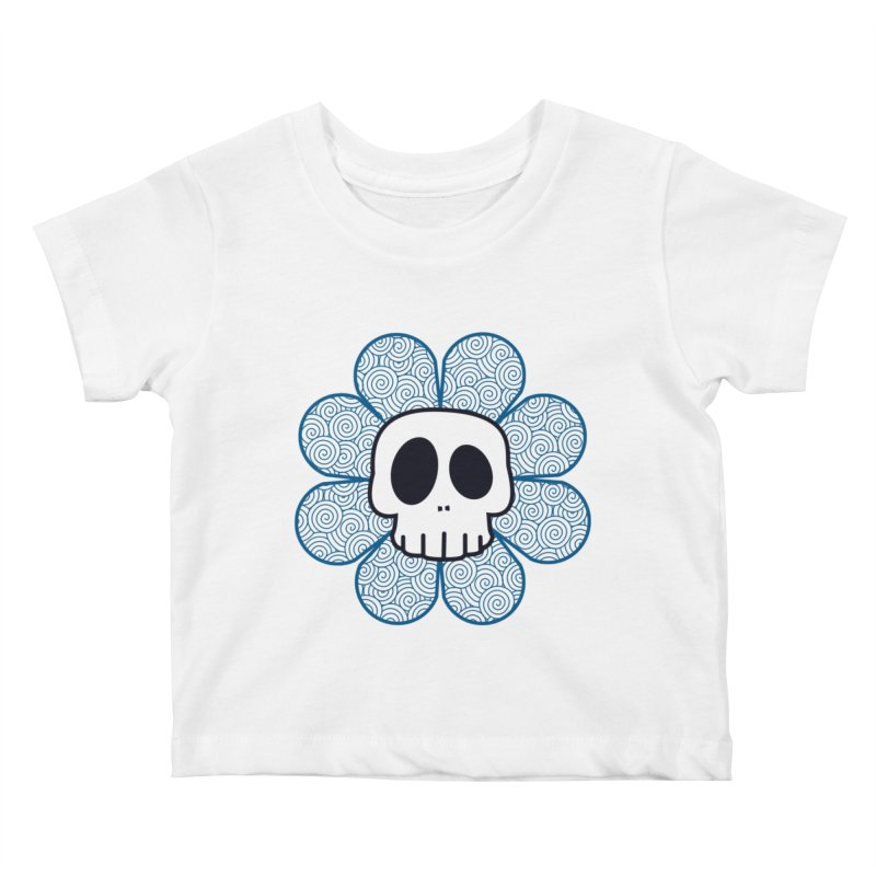 Swirl Skull Flower Kids Baby T-Shirt by SkullyFlower's Sweetly Creepy Tees