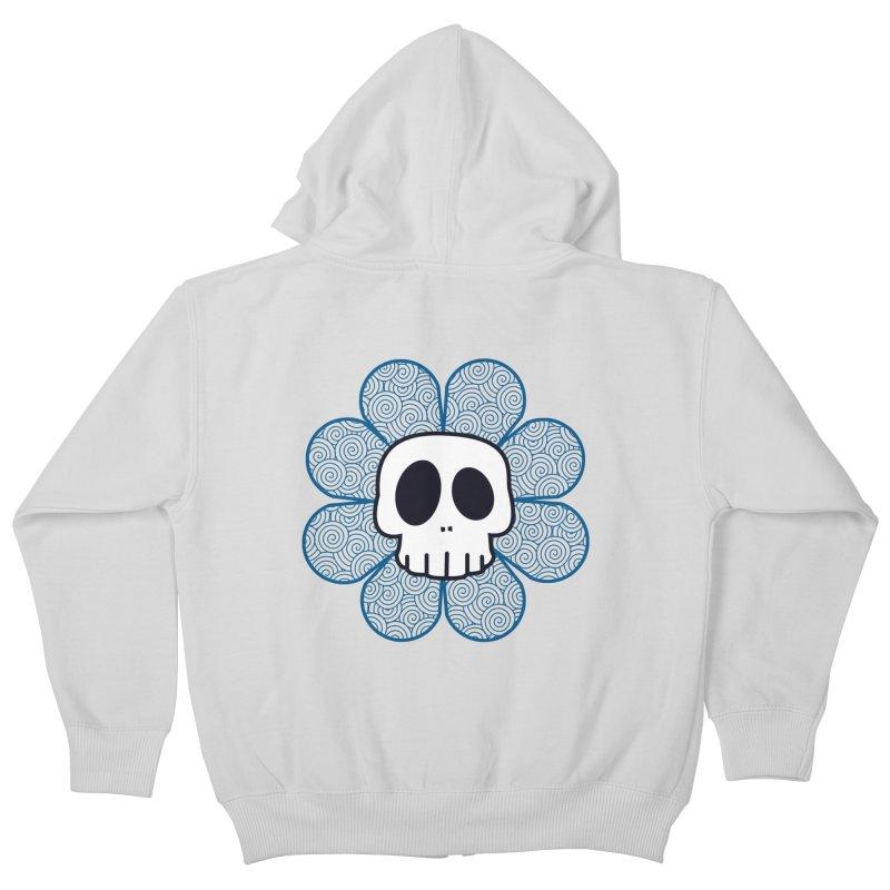 Swirl Skull Flower Kids Zip-Up Hoody by SkullyFlower's Sweetly Creepy Tees
