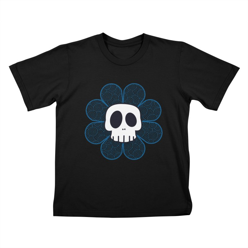 Swirl Skull Flower Kids T-shirt by SkullyFlower's Sweetly Creepy Tees