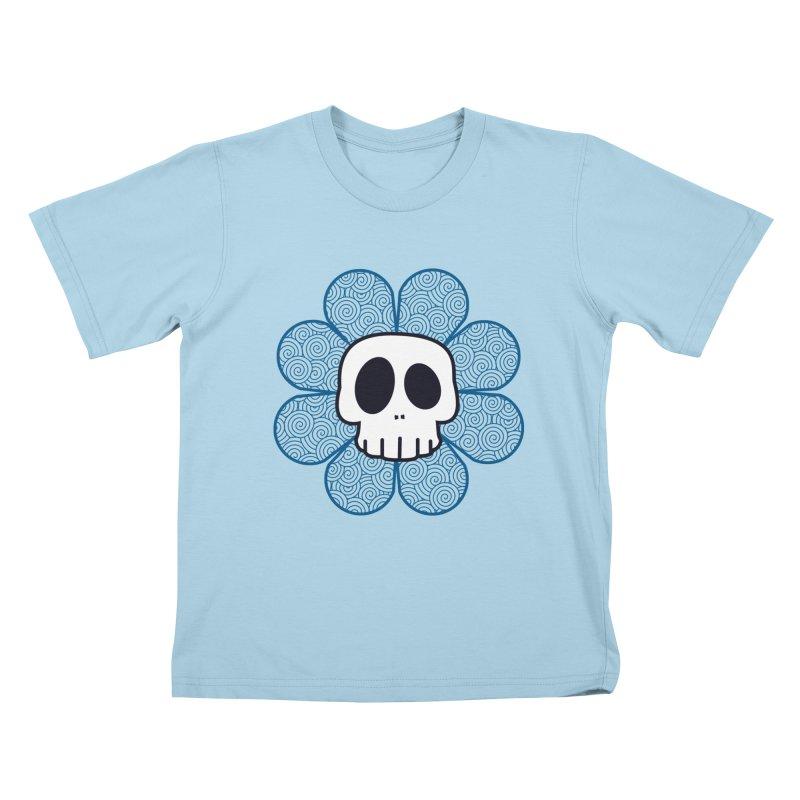 Swirl Skull Flower Kids T-Shirt by SkullyFlower's Sweetly Creepy Tees