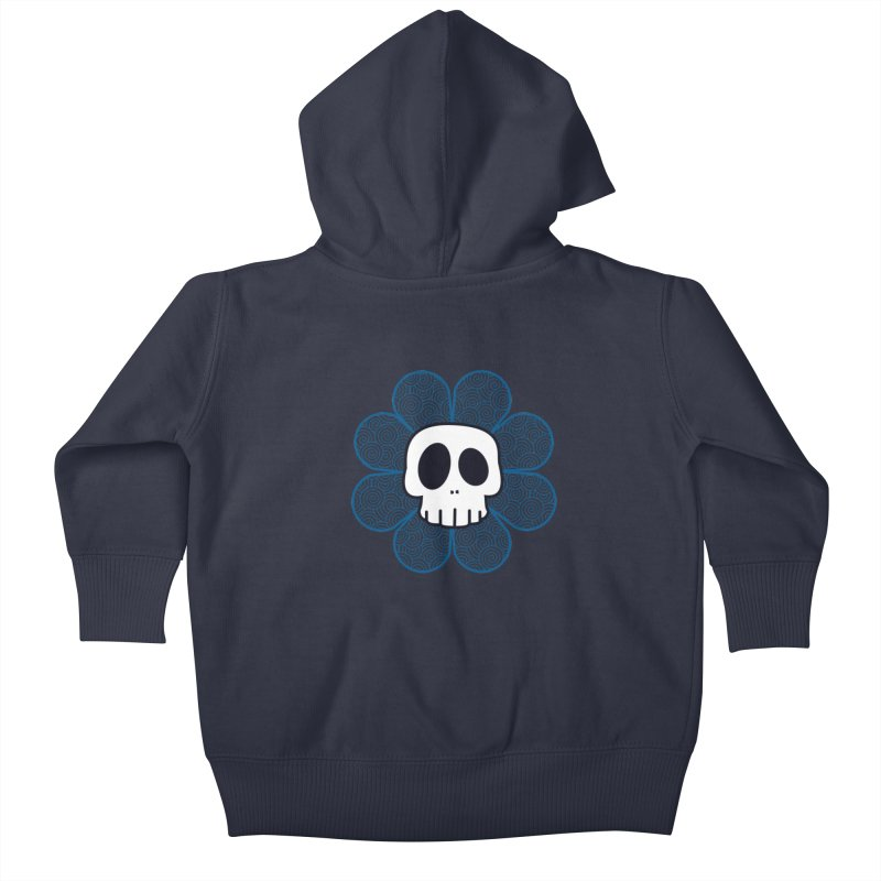 Swirl Skull Flower Kids Baby Zip-Up Hoody by SkullyFlower's Sweetly Creepy Tees