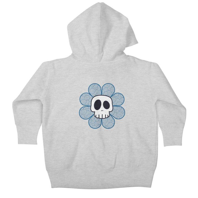 Swirl Skull Flower Kids Baby Zip-Up Hoody by SkullyFlower's Sweetly Creepy Tees