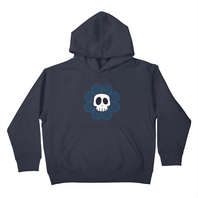 Swirl Skull Flower Kids Pullover Hoody by SkullyFlower's Sweetly Creepy Tees