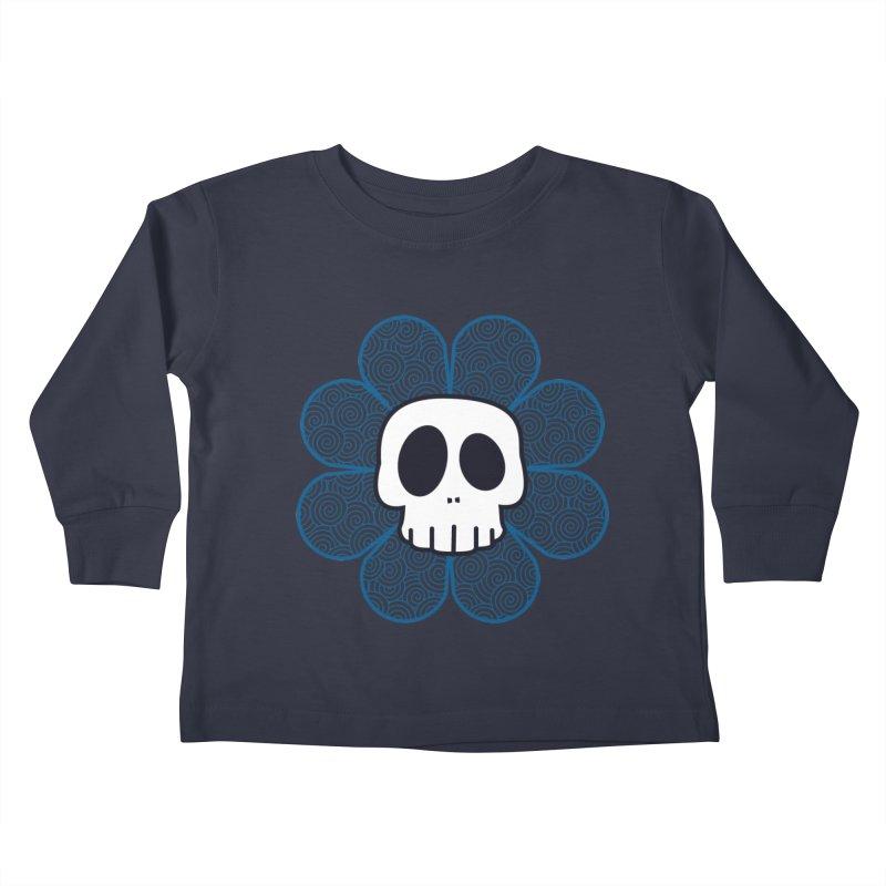 Swirl Skull Flower Kids Toddler Longsleeve T-Shirt by SkullyFlower's Sweetly Creepy Tees