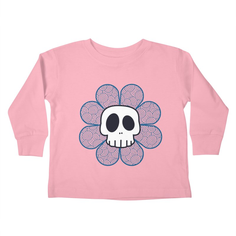 Swirl Skull Flower Kids Toddler Longsleeve T-Shirt by SkullyFlower's Sweetly Creepy Tees
