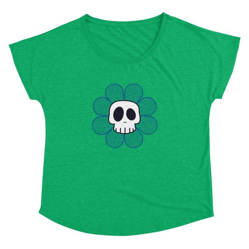 Swirl Skull Flower Women's Dolman Scoop Neck by SkullyFlower's Sweetly Creepy Tees