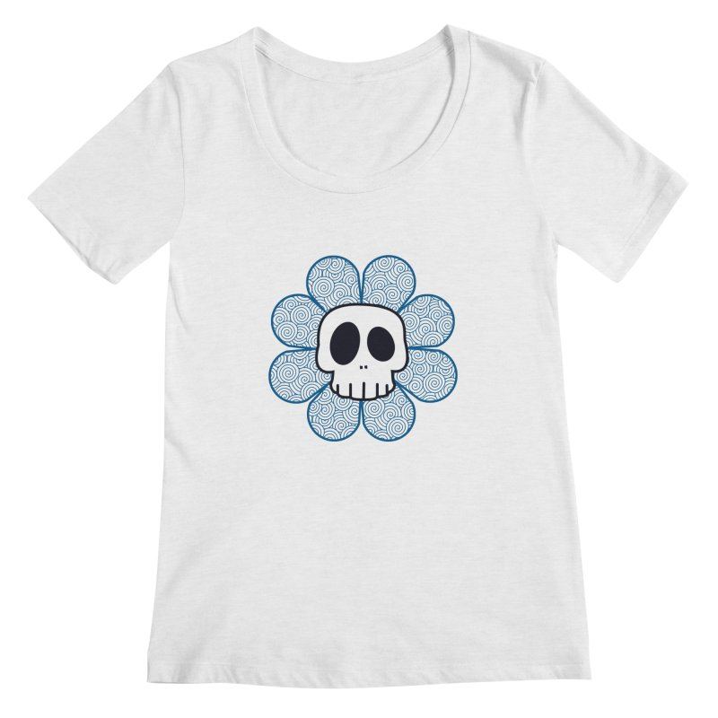 Swirl Skull Flower Women's Scoopneck by SkullyFlower's Sweetly Creepy Tees