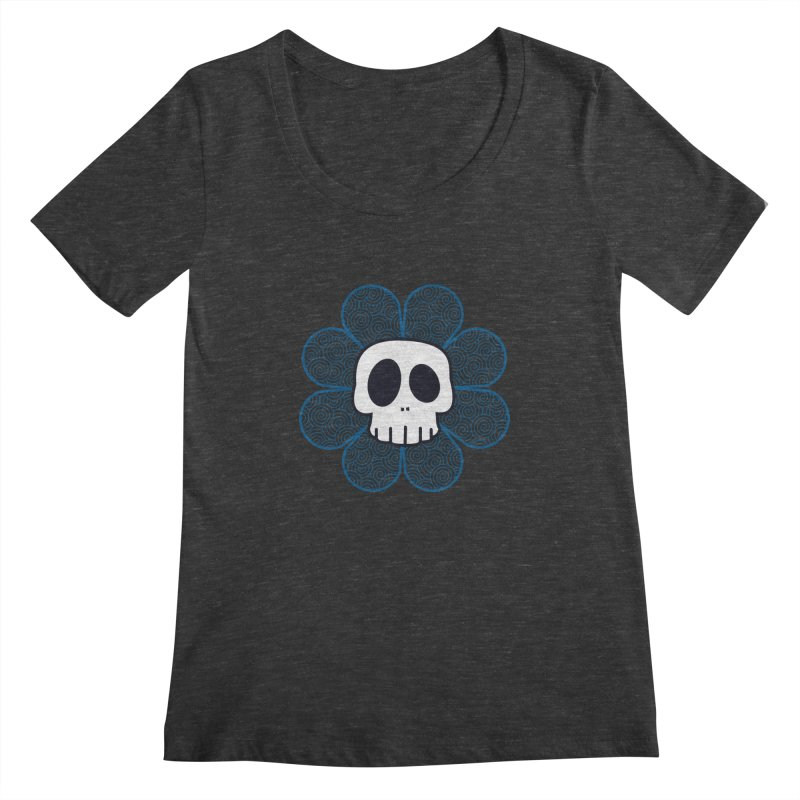 Swirl Skull Flower Women's Regular Scoop Neck by SkullyFlower's Sweetly Creepy Tees