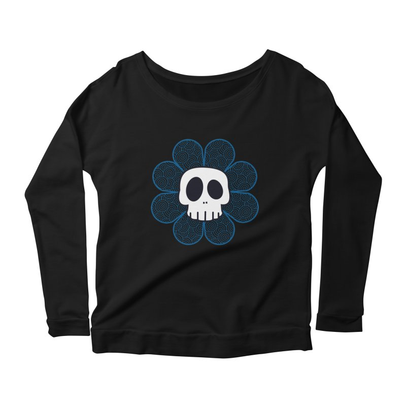 Swirl Skull Flower Women's Scoop Neck Longsleeve T-Shirt by SkullyFlower's Sweetly Creepy Tees