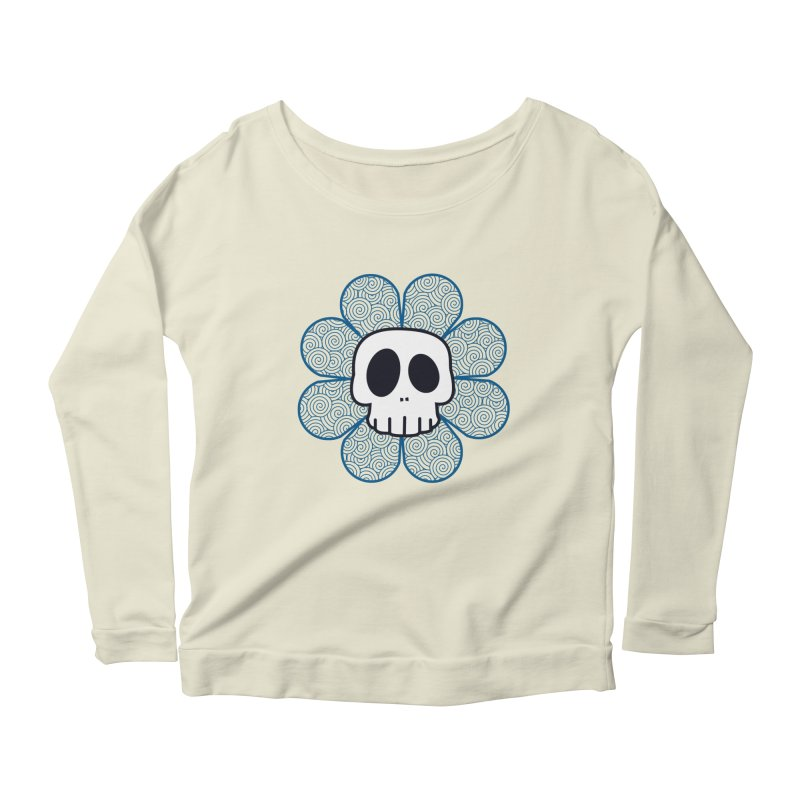 Swirl Skull Flower Women's Longsleeve Scoopneck  by SkullyFlower's Sweetly Creepy Tees