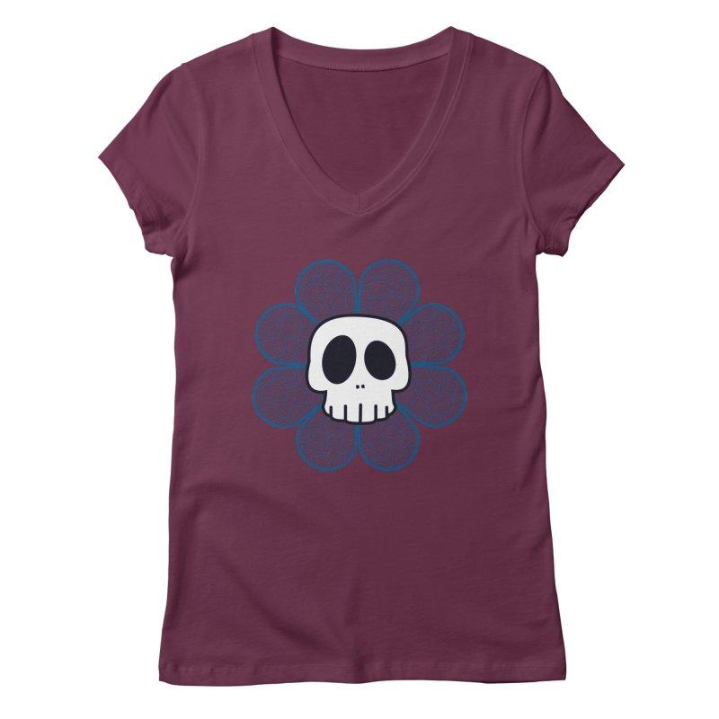 Swirl Skull Flower Women's V-Neck by SkullyFlower's Sweetly Creepy Tees