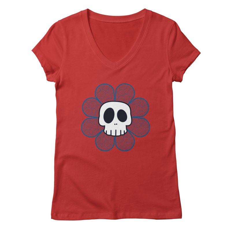 Swirl Skull Flower Women's Regular V-Neck by SkullyFlower's Sweetly Creepy Tees