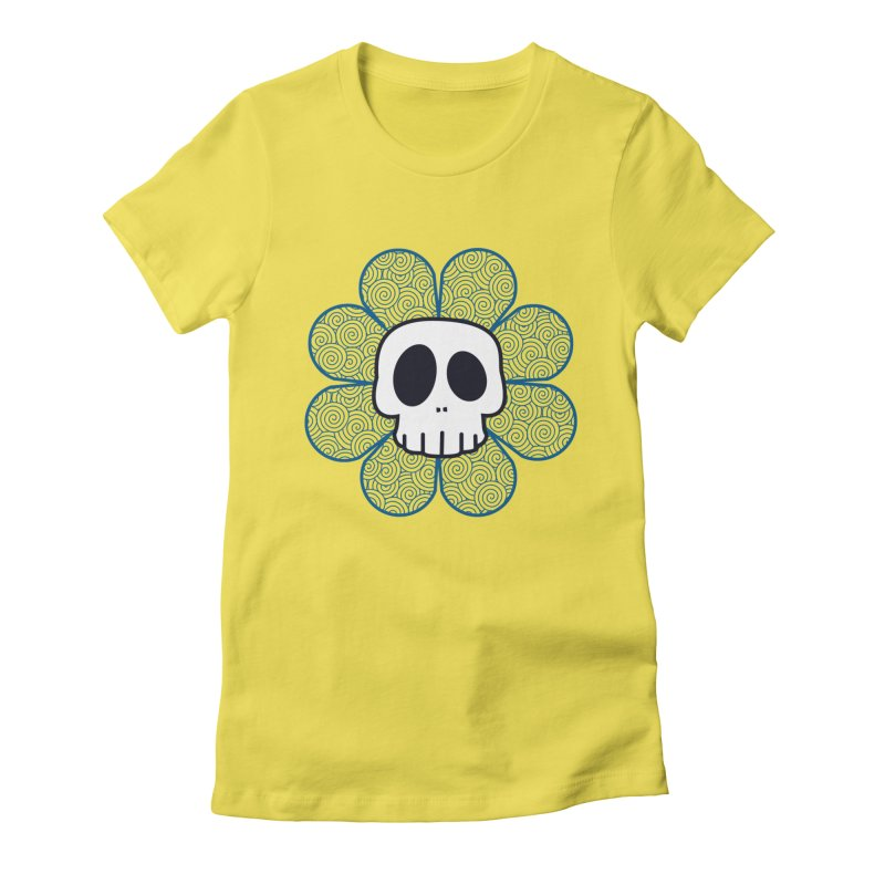Swirl Skull Flower Women's Fitted T-Shirt by SkullyFlower's Sweetly Creepy Tees