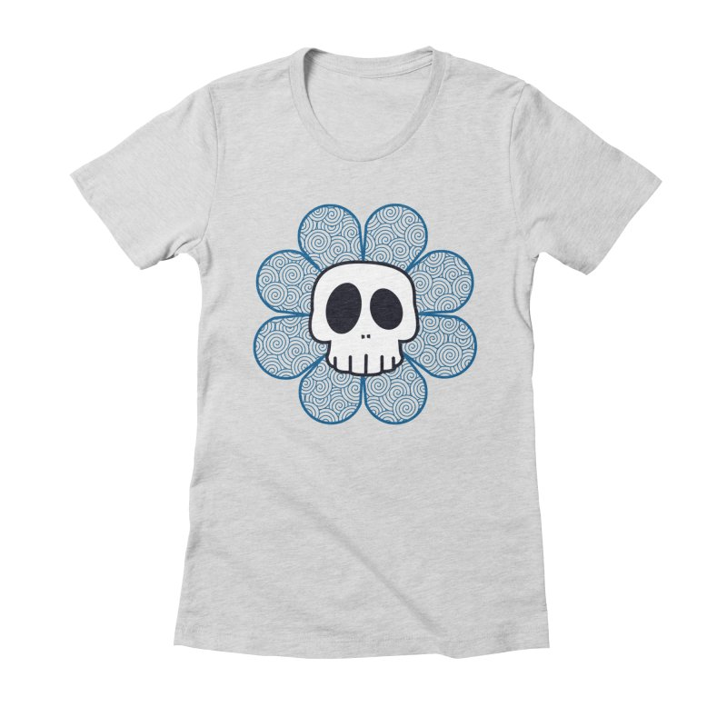 Swirl Skull Flower Women's Fitted T-Shirt by SkullyFlower's Sweetly Creepy Tees