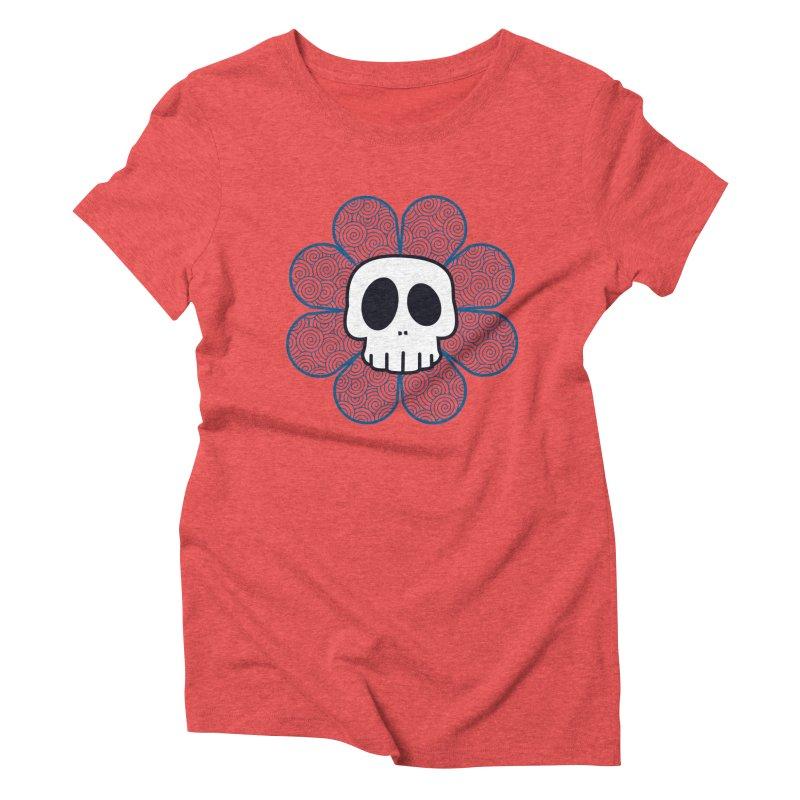 Swirl Skull Flower Women's Triblend T-shirt by SkullyFlower's Sweetly Creepy Tees