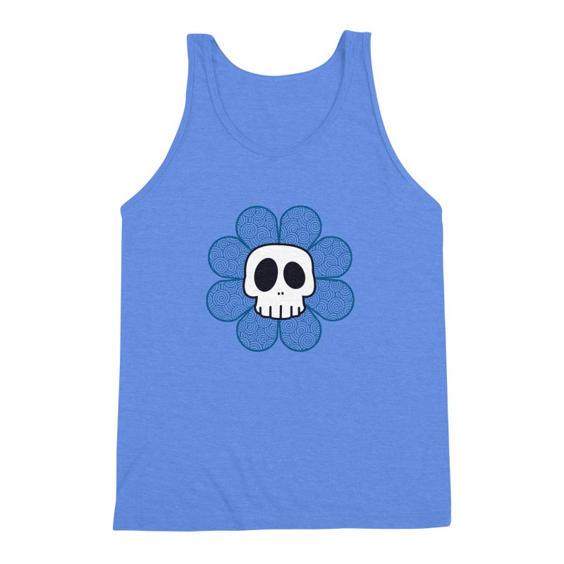 Swirl Skull Flower Men's Triblend Tank by SkullyFlower's Sweetly Creepy Tees