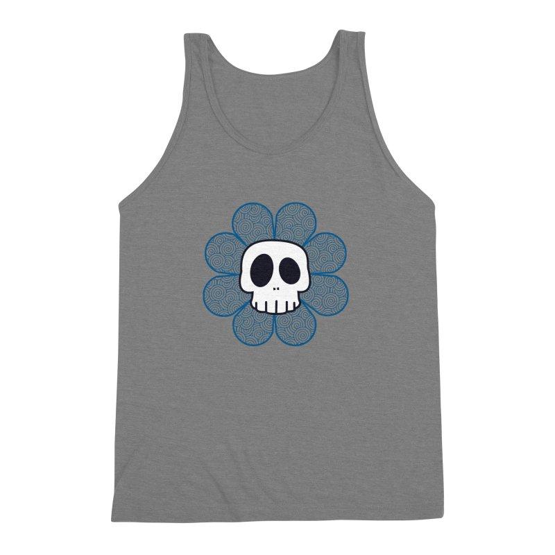 Swirl Skull Flower Men's Triblend Tank by SkullyFlower's Sweetly Creepy Tees