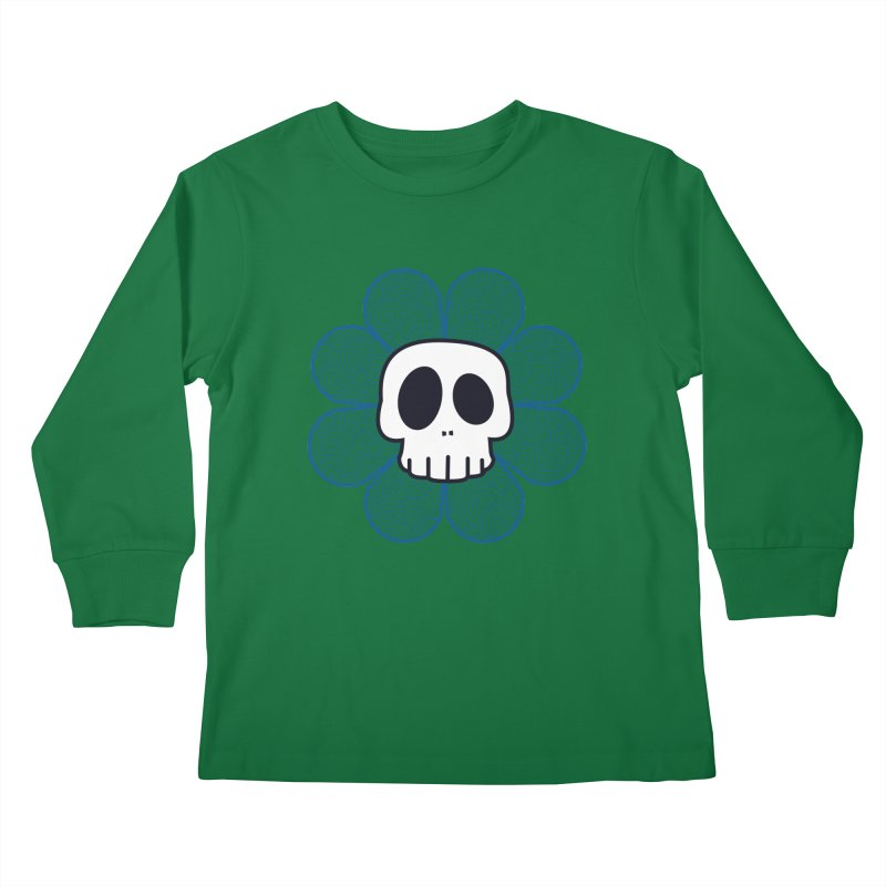 Swirl Skull Flower Kids Longsleeve T-Shirt by SkullyFlower's Sweetly Creepy Tees