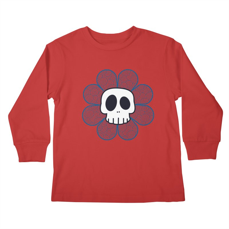 Swirl Skull Flower Kids Longsleeve T-Shirt by SkullyFlower's Sweetly Creepy Tees