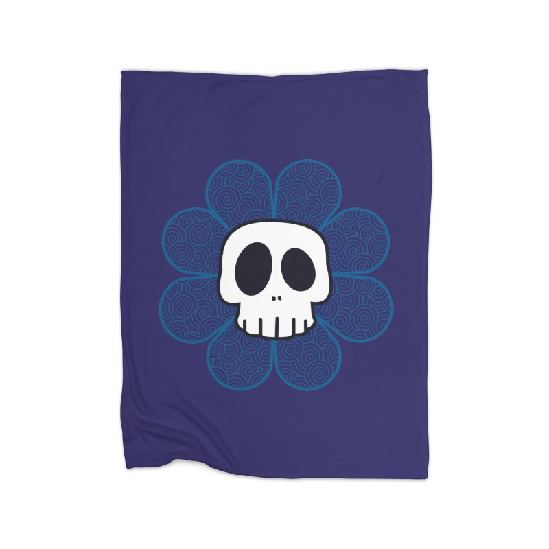 Swirl Skull Flower Home Blanket by SkullyFlower's Sweetly Creepy Tees