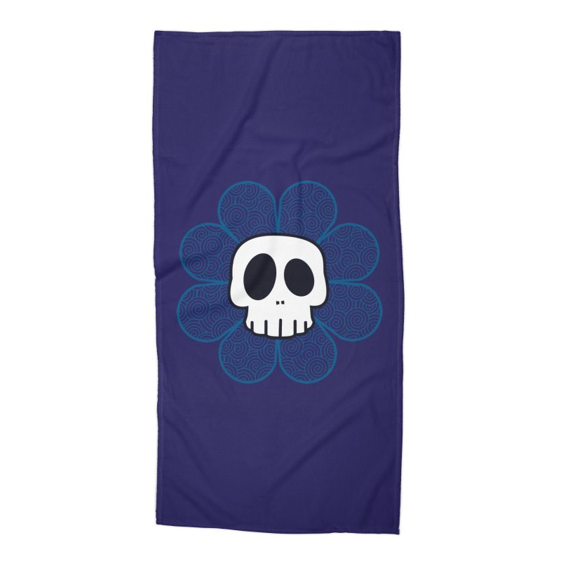 Swirl Skull Flower Accessories Beach Towel by SkullyFlower's Sweetly Creepy Tees
