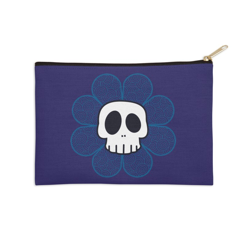 Swirl Skull Flower Accessories Zip Pouch by SkullyFlower's Sweetly Creepy Tees