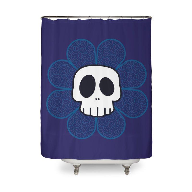 Swirl Skull Flower Home Shower Curtain by SkullyFlower's Sweetly Creepy Tees