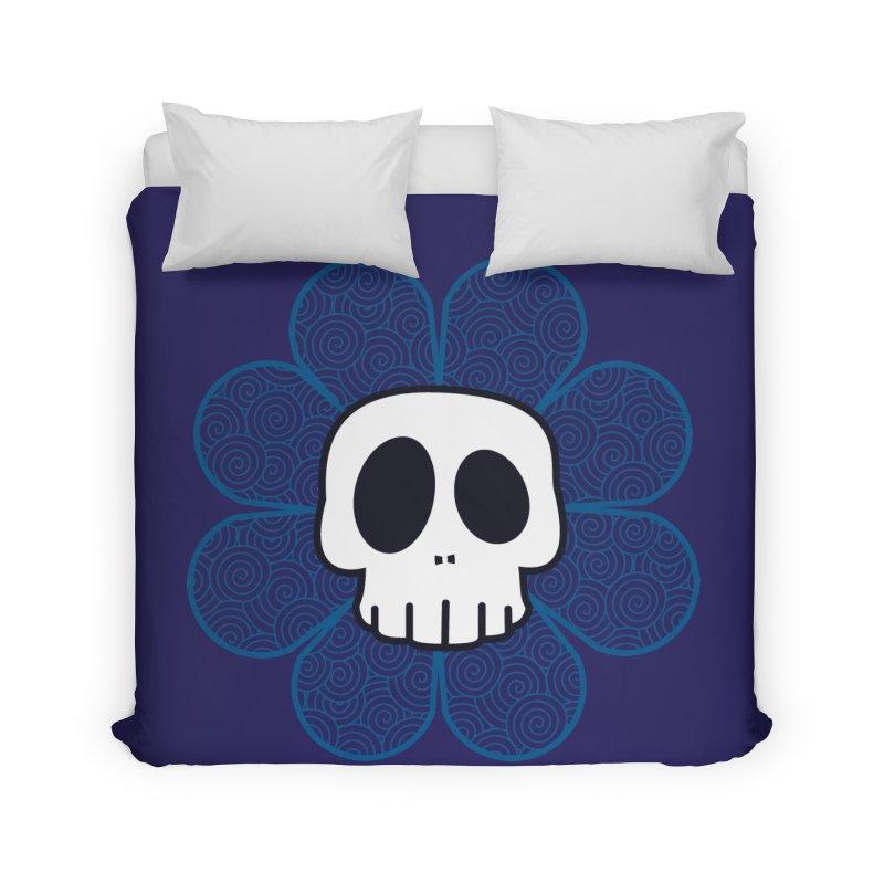 Swirl Skull Flower Home Duvet by SkullyFlower's Sweetly Creepy Tees