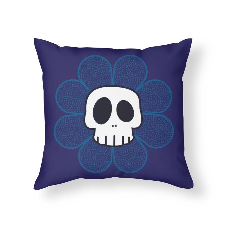 Swirl Skull Flower Home Throw Pillow by SkullyFlower's Sweetly Creepy Tees