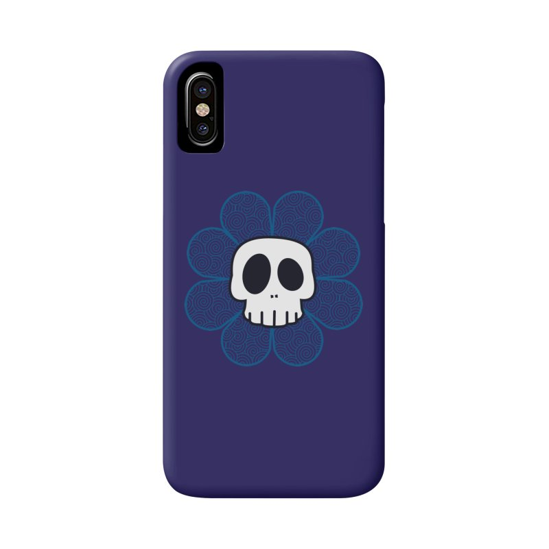 Swirl Skull Flower Accessories Phone Case by SkullyFlower's Sweetly Creepy Tees