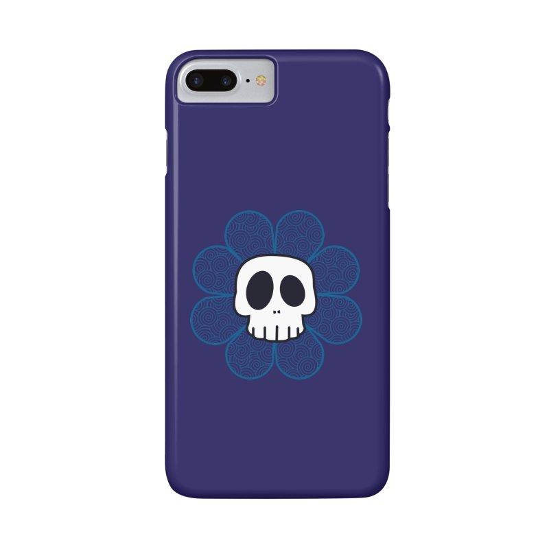 Swirl Skull Flower Accessories Phone Case by SkullyFlower's Sweetly Creepy Tees