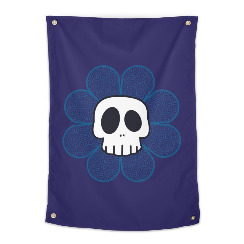 Swirl Skull Flower Home Tapestry by SkullyFlower's Sweetly Creepy Tees