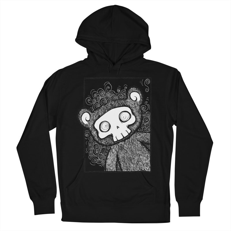 Skully Bear Gray Scale Women's French Terry Pullover Hoody by SkullyFlower's Sweetly Creepy Tees
