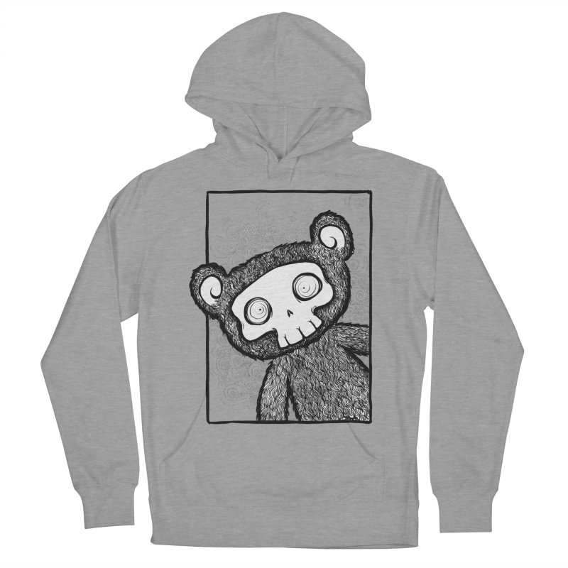 Skully Bear Gray Scale Men's French Terry Pullover Hoody by SkullyFlower's Sweetly Creepy Tees