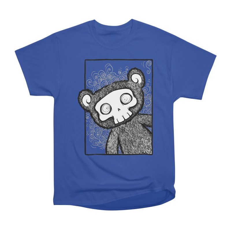 Skully Bear Gray Scale Women's Heavyweight Unisex T-Shirt by SkullyFlower's Sweetly Creepy Tees