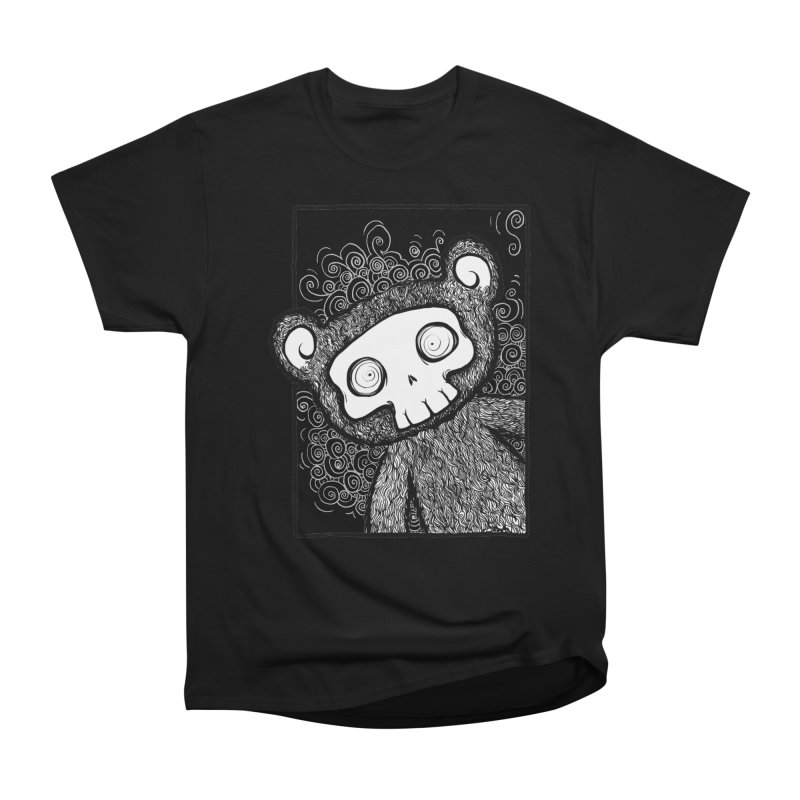 Skully Bear Gray Scale Men's Heavyweight T-Shirt by SkullyFlower's Sweetly Creepy Tees