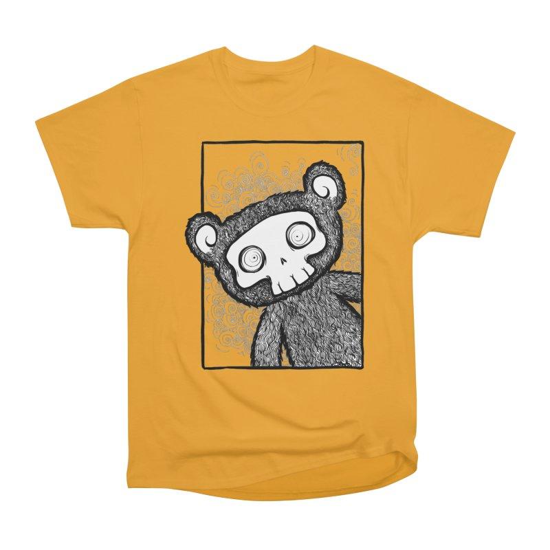 Skully Bear Gray Scale Women's Heavyweight Unisex T-Shirt by SkullyFlower's Sweetly Creepy Tees