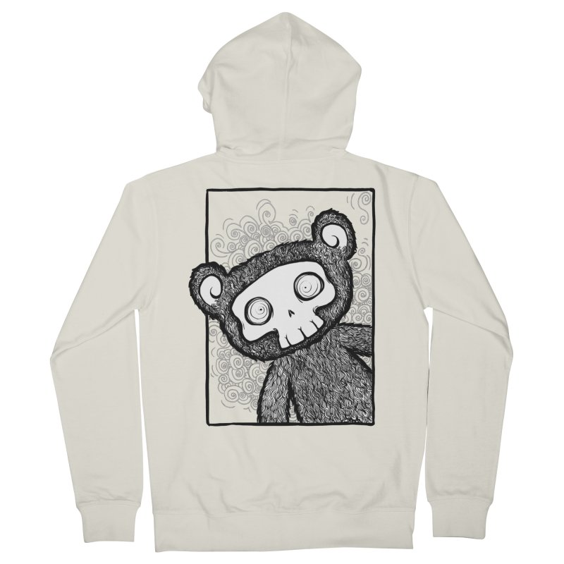 Skully Bear Gray Scale Women's French Terry Zip-Up Hoody by SkullyFlower's Sweetly Creepy Tees