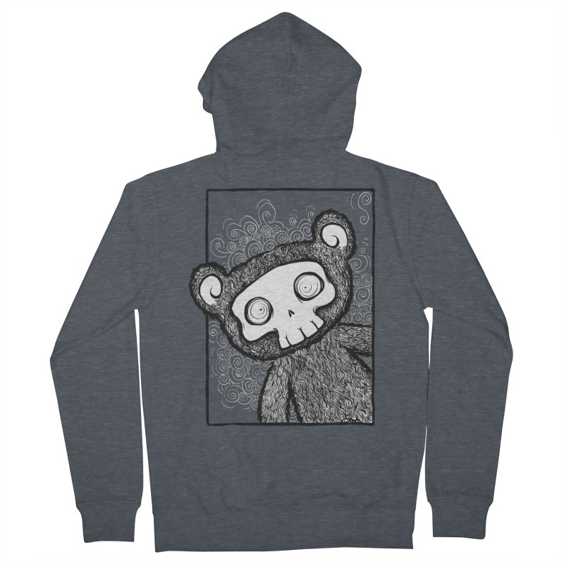 Skully Bear Gray Scale Men's French Terry Zip-Up Hoody by SkullyFlower's Sweetly Creepy Tees