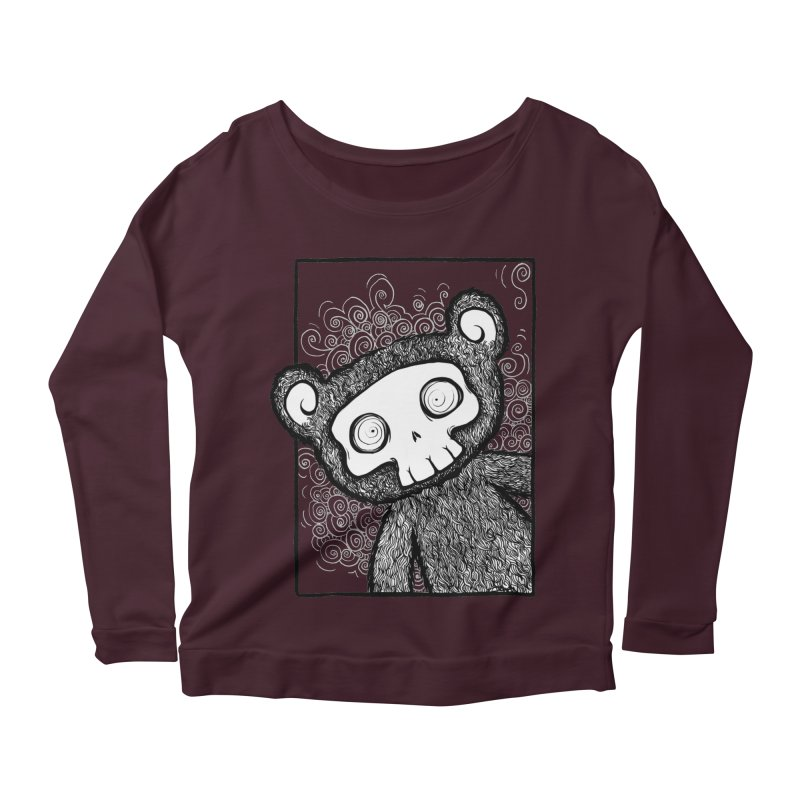 Skully Bear Gray Scale Women's Scoop Neck Longsleeve T-Shirt by SkullyFlower's Sweetly Creepy Tees