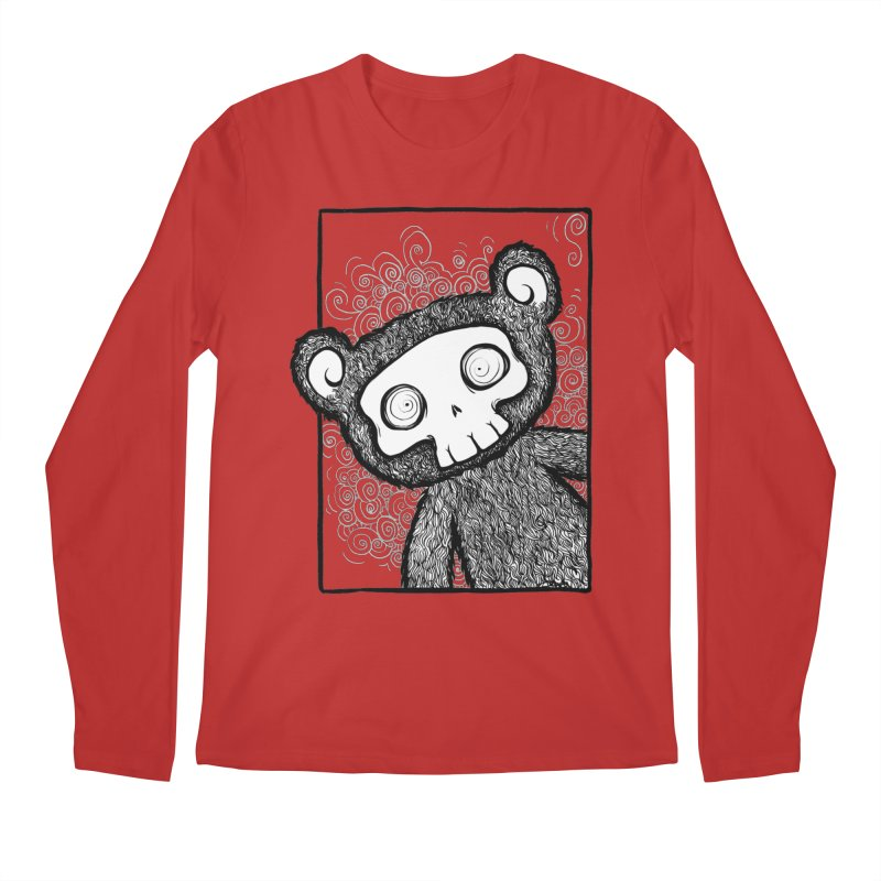Skully Bear Gray Scale Men's Longsleeve T-Shirt by SkullyFlower's Sweetly Creepy Tees