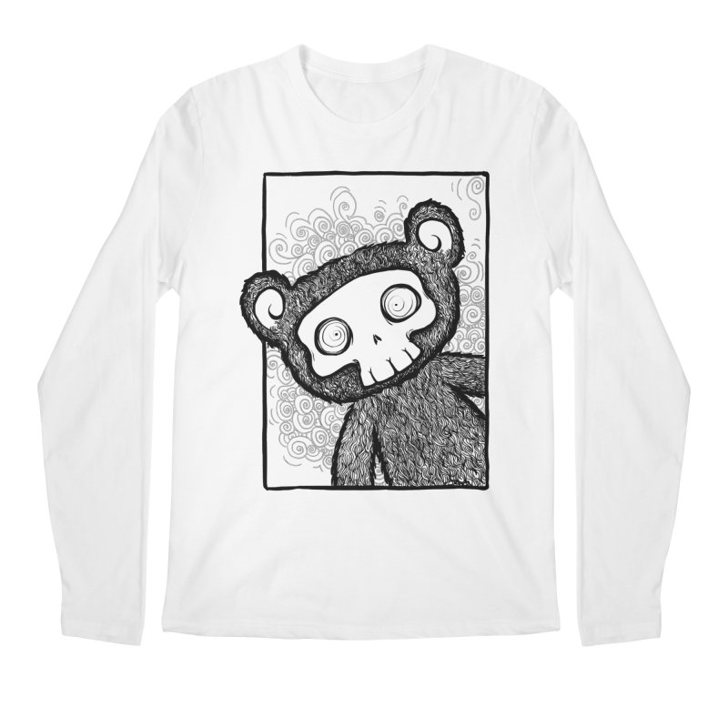 Skully Bear Gray Scale Men's Regular Longsleeve T-Shirt by SkullyFlower's Sweetly Creepy Tees