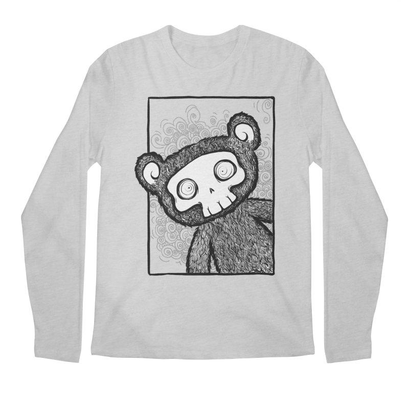 Skully Bear Gray Scale Men's Longsleeve T-Shirt by SkullyFlower's Sweetly Creepy Tees