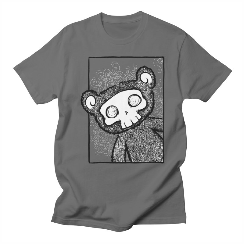 Skully Bear Gray Scale Men's T-Shirt by SkullyFlower's Sweetly Creepy Tees