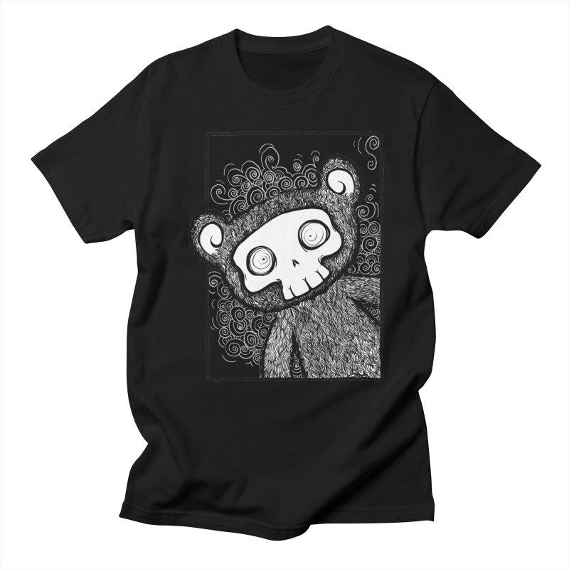 Skully Bear Gray Scale Women's Unisex T-Shirt by SkullyFlower's Sweetly Creepy Tees